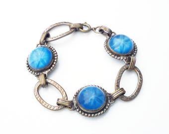 Art Deco Star Sapphire Bracelet - Blue Glass, Silver Tone Links, Machine Age, Antique Jewelry, Art Deco Jewelry, Vintage Bracelet