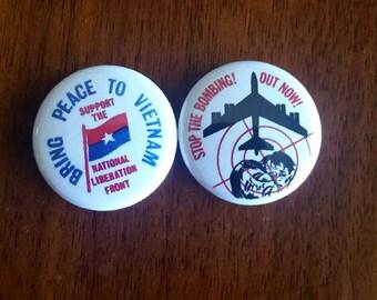 Peace In Vietnam Genuine Imitation Anti-War Button Set