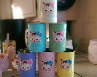 6 Kitty Cat Retro Vintage Kitten Shabby Chic Painted Can Vase Storage Nursery Decor Baby Shower Table Centerpiece Birthday Party Favors Gift
