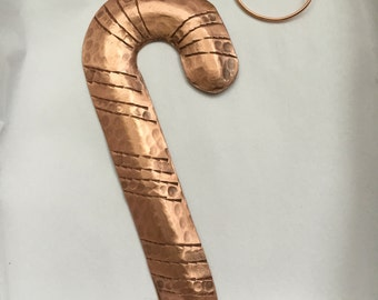 Handcrafted Pure Hammered Copper Candy Cane Ornament