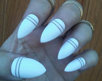 Matte White Stiletto Nails, Negative Space Striped, Acrylic Press Glue on False Fake Nails, Coffin, Square, Oval, Long or Short, Wedding