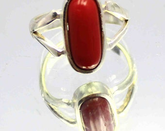 23.60Ct Certified US Size-7.5 Excellence Red Coral Ring Gems 925 Sterling Silver ET67
