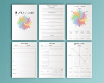 Life Planner Kit A4 8.3x11.7 Printable Daily Weekly Monthly Project Menu Planner Wheel of Life Financial Planner 21 Pages Instant Download