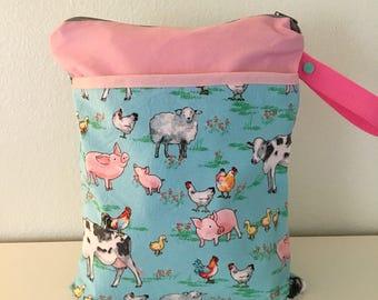 Double pocket farm wet bag, wet drey wet bag, baby bag, beach bag, diaper bag,  baby bag, large wet bag, pink wet bag