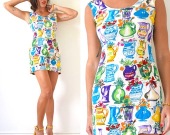 Vintage 90s Jams World Flower Vase Novelty Print Mini Dress (size small)