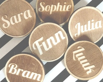Customized Personalised Name Brooch Pin Lasercut from Wood