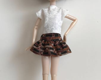 Handmade Skirt Top fits dolls like Momoko, Blythe, Pullip, Skipper, Moxie Designs by P. D. Reneau (Q813)