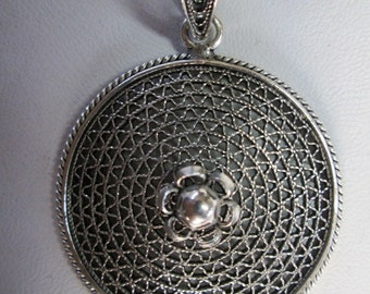Sterling Silver Large Pendant, Silver Round Pendant, Silver Cone Pendant, Filigree Pendant, Hand-crafted Pendant, Flower Pendant