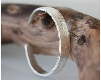 CUFF BRACELET made of Pure Silver, hand hammered and shaped