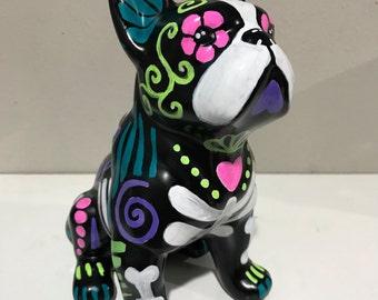 "Boston terrier sugar skull 8"" statue customized"
