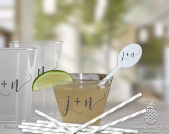 Bride Groom Wedding Clear Plastic Disposable Party Cups