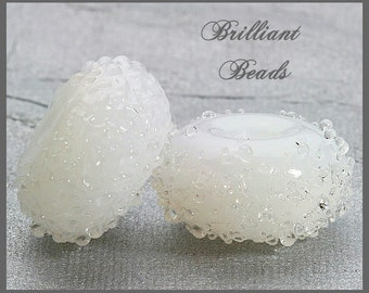 White Alabaster Sugared Glass Bead Pair - Handmade Lampwork Beads, Made To Order
