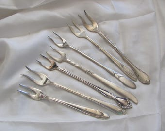 Seafood - Lot of 7 Silver Plate 2 Prong Forks Crab Seafood Olive - Mixed Patterns (#8)