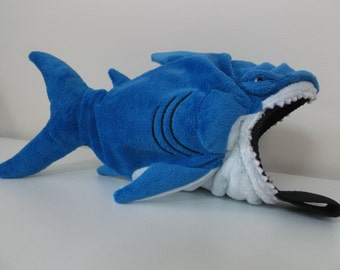 Shark Rock Climbing Chalk Bag made from a child's plush toy