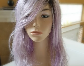Lilac Wig, Synthetic Lilac color wig with Dark Roots