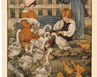Children Feeding the Geese - 1920's C.M. Burd Illustration Perfect for Framing - Original Book Page No Text on Back 9-1/4 x 11-1/8
