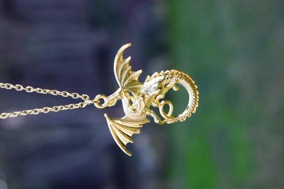 Gold Dragon Necklace, Descendants Mal Costume Necklace, Large Gold Dragon, Dragon Cosplay, LARP, Disney Fan, Mal Dragon Necklace