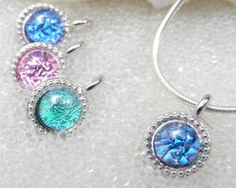 Sparkling Mermaid Tear / Dichroic Glass Pendant in Blue or Pink, Green / Dainty Silver Pendant / Sea Glass / Handmade Dichroic Fused Glass