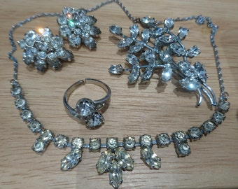 Sparkly vintage rhinestone brooch, earrings, necklace and ring