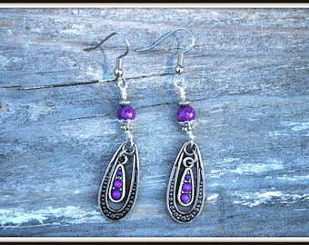 Fossil Stone Earrings, Violet Fossil Stone Earrings, Violet Dangle Earrings, Violet Teardrop Earrings, Teardrop Dangles, Stone Dangles
