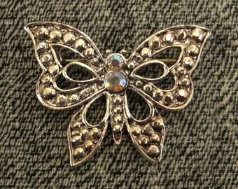 Butterfly brooch-pin cast silvertone aurora borealis rhinestone marcasites look