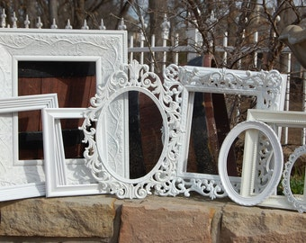 Custom Frames Picture Frames / Set Of 10 Shabby Chic Frames / Made To Order Frames / Ornate Gallery Wall