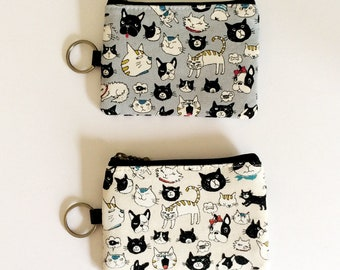 Travel pass case -naughty cat and dog face in blue grey or ivory