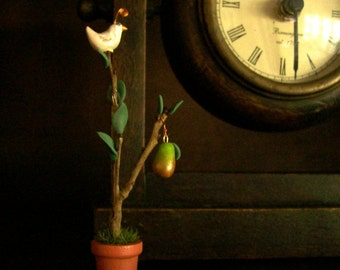 Tiny Partridge in a Pear Tree 1 Inch Scale Artisan Decoration for Holiday Dollhouse Home or Miniature Garden Tiny Gift