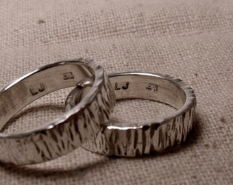 5mm Matching Sterling Silver flat Textured Bands RF592