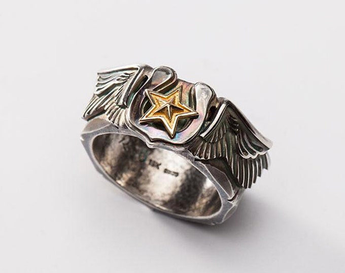 Silver Wing Ring | Angel Wing Ring | Gold Star Ring | Lucky Star Ring | Horseshoe Ring | Engraved Silver Band |Oxidized Silver 18K Gold Ring