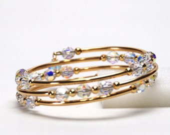 Crystal AB Memory Wire Bracelet - Aurora Borealis Swarovski Crystal Bracelet in Gold or Silver Plate - Bridal Jewelry