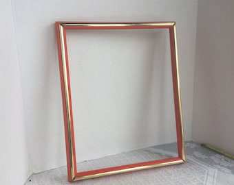 Vintage Wood Picture Frame / Red and Gold Wooden 11 X 14 Inch Frame / Made in Mexico