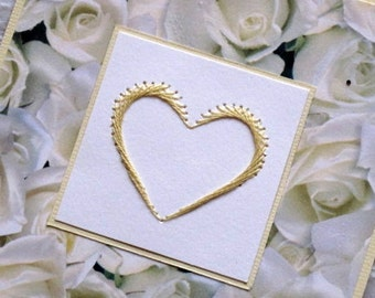 Victorian style rose and heart hand embroidered wedding card (choice) / Red Roses Valentines card / Embroidered heart card / Valentines