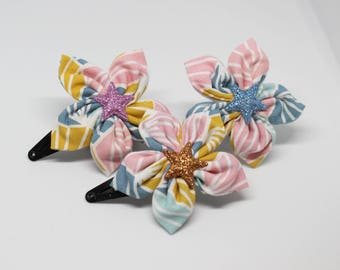 Pink, blue, yellow and white flower hair clip