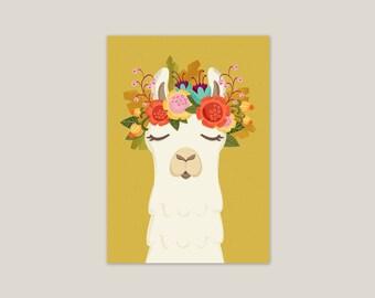 Llama Flowers - Art Print 5x7