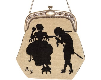 Vintage Needlepoint Purse, Petit Point, Romantic Couple Silhouette, Silver Frame, Dated 1936, Rare, Collectible
