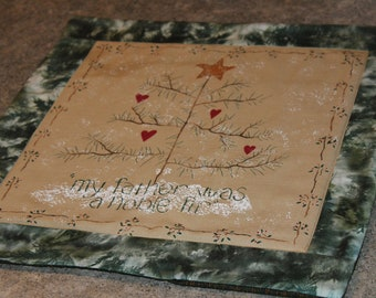Green Pine Fir Tree  Christmas Primitive Look 15 X 15 Quilted Table Runner Topper