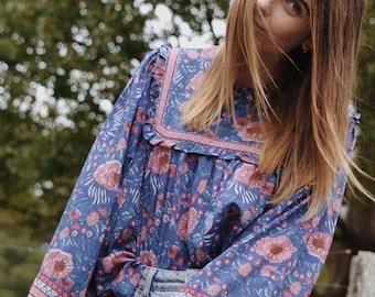 BOHEMIAN 70's Indian style cotton gauze floral print blouse top blue