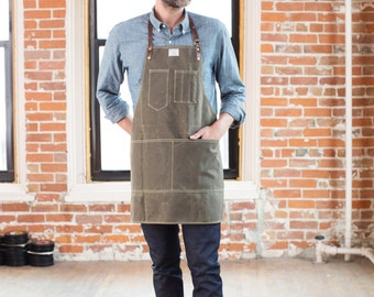 Waxed Canvas Apron - Olive w/ Horween Brown Leather Straps