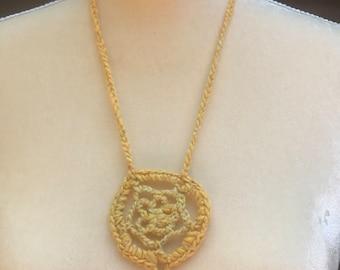 Crochet Dreamcatcher Necklace with Jewel
