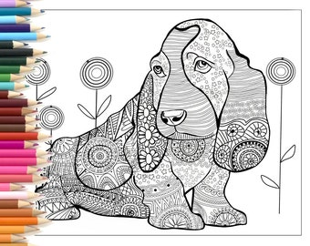 Dog zentangle coloring page, printable art hand made illustration, for children and adults