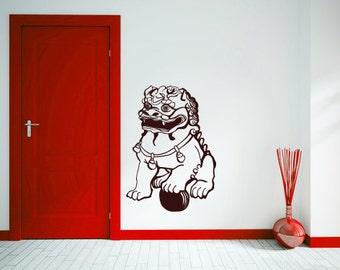 Chinese Lion wall decal- Chinese guardian Lion, Shishi, Foo Dog