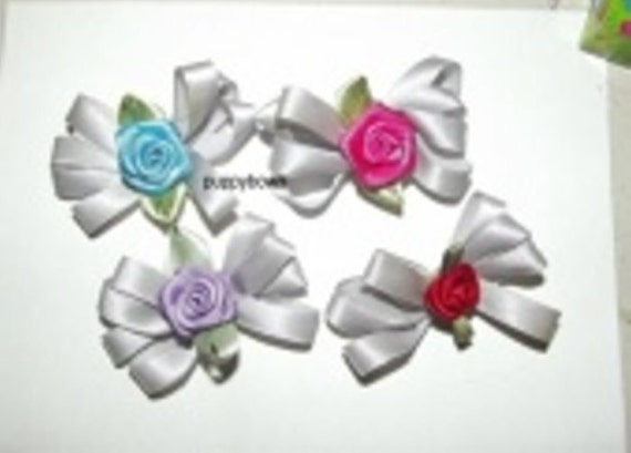Puppy Bows ~Set of 4 silver rose wild loop dog grooming bow pet hair clip barrette