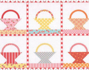 Annie's Farm Stand Red Floral Basket Quilt Panel SKU 10101-Red