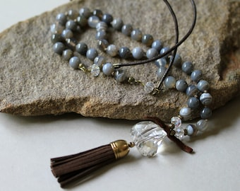 Faceted Clear Quartz Nugget and Agate Tassel BOHO Style Knotted Adjustable Necklace, Necklace Set, Bohemian Jewelry, Tassel Necklace