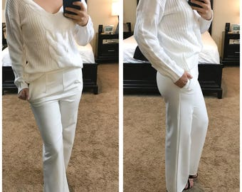 High Waist Wide Leg White Pants