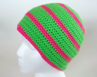 Lime Green and Hot Pink Striped Beanie Crochet Hat