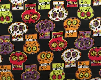 Sugar skulls fabric by the yard - dia de los muertos fabric - day of the dead fabric - calavera fabric - #16500