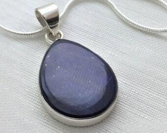 Deep Blue, Flat Lapis Lazuli Gemstone, Silver Pendant Necklace