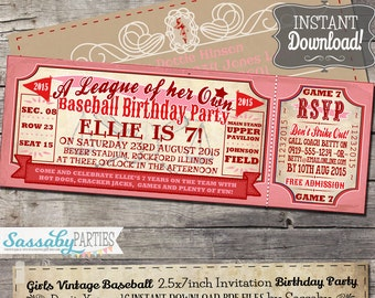 Vintage Girls Baseball BIRTHDAY Invitation - A League of her Own Rockford Peaches Inspired - INSTANT DOWNLOAD - Printable Invite